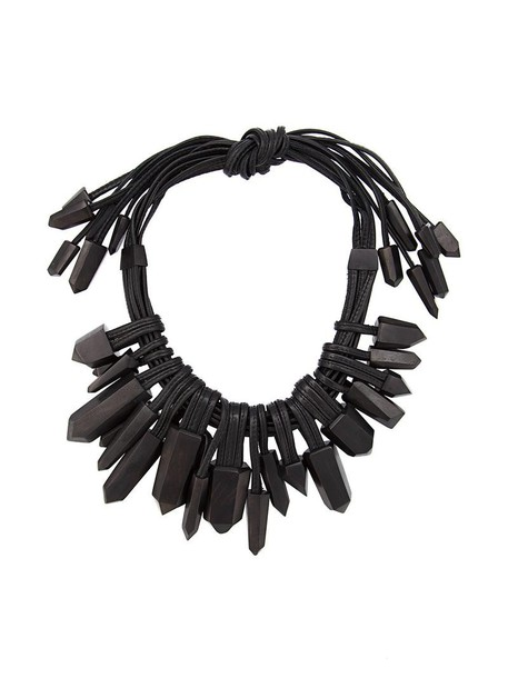 Monies wood women necklace leather black jewels