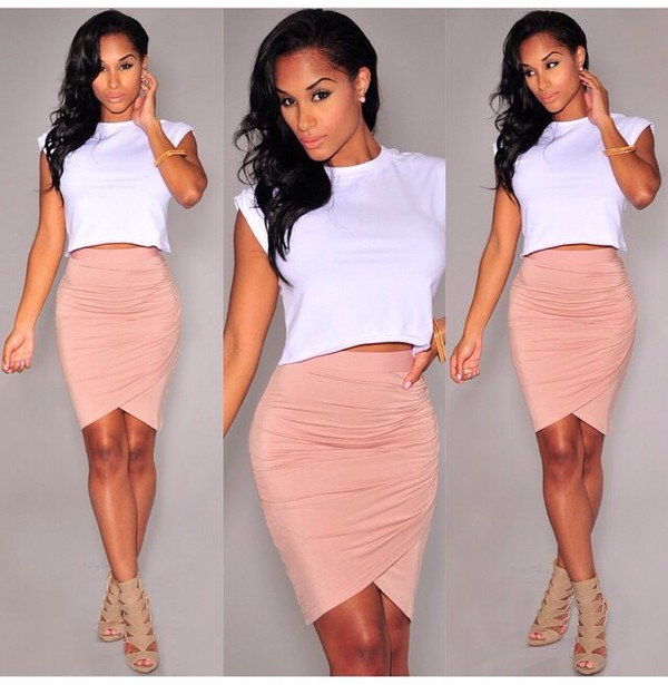 white crop tee and peach skirt