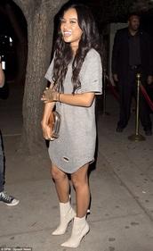 dress,ripped dress,ripped,karrueche,grey,t-shirt dress