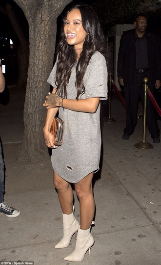 dress ripped dress ripped karrueche grey t-shirt dress