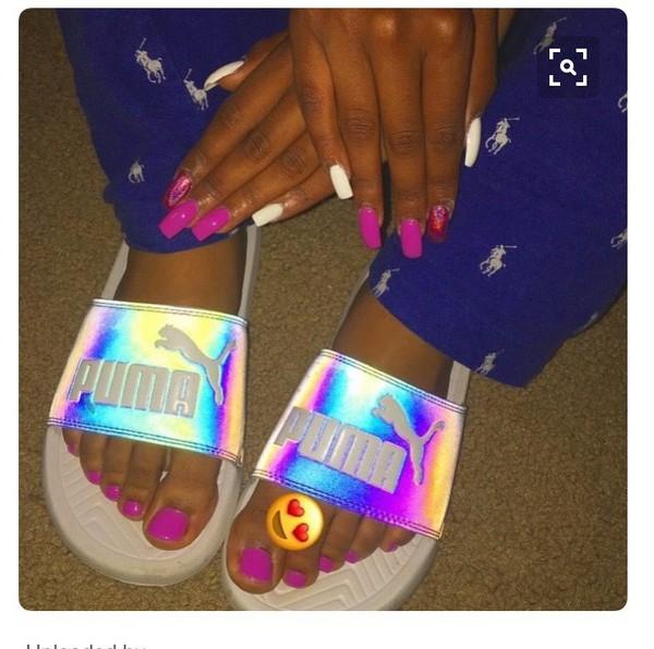 620ca45431e Victorias Secret Pink Holographic Logo Crossover Beach Sandals ...