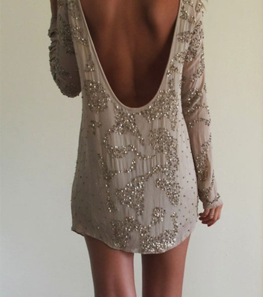 beaded dress low cut back dress lowback longsleeve long sleeve sparkles short backless dress sequin dress prom dress glitter beige sequin backless long sleeve dress baggy tan backless dress backless low back, long sleeve dress gold sparkly dress