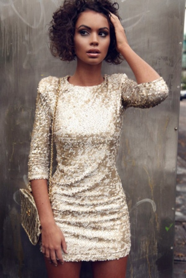 dress dress sequin gold long sleeves