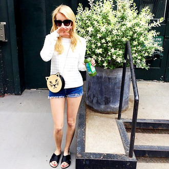 shorts top purse emma roberts sunglasses instagram sandals bag slide shoes black slides