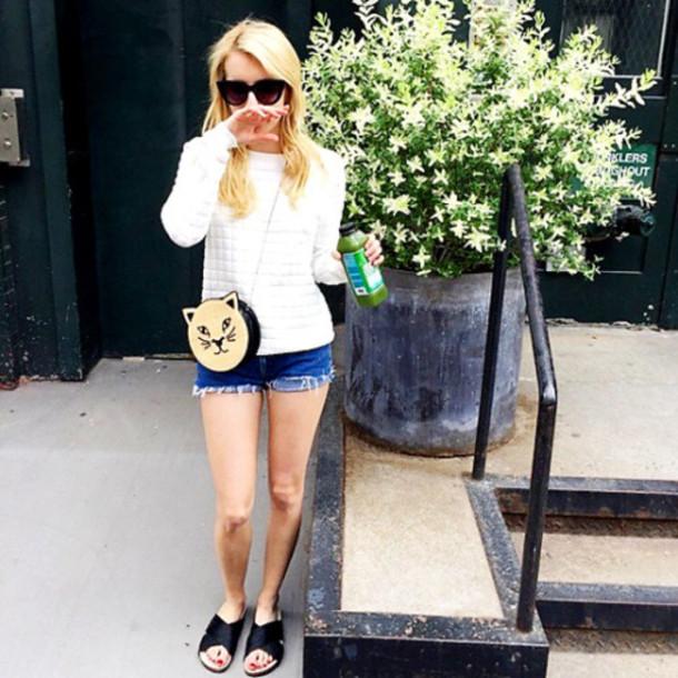 shorts top purse emma roberts sunglasses instagram sandals bag slide shoes black slides