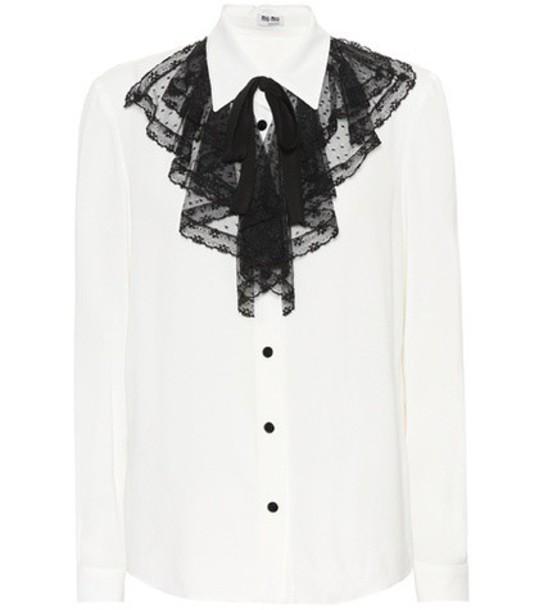 shirt lace silk white top