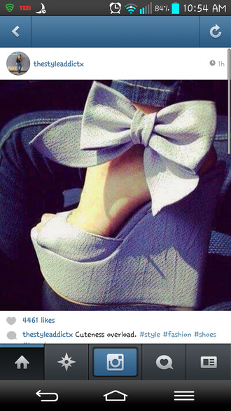 shoes ribbon wedges high heels light grey bow heels heels black shoes