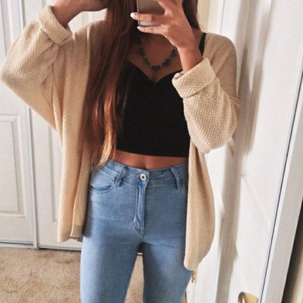 cardigan cute girly sweater top high waisted jeans hipster sweater jeans brown beige love outfit tank top crop tops pants style instagram tumblr outfit