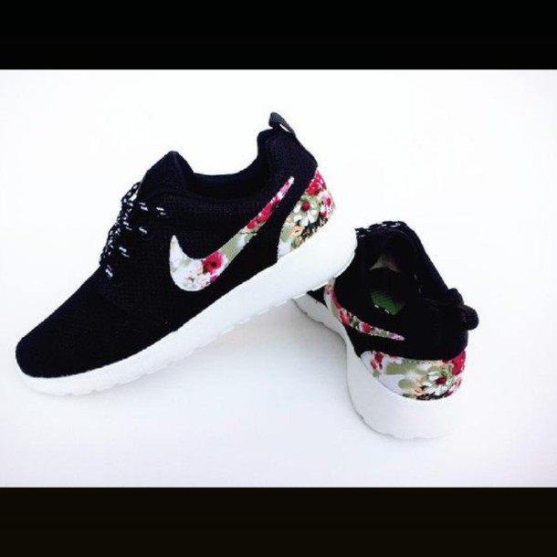shoes nike shoes nike roshes floral flowers black