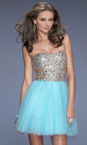 party dress beaded sweetheart dresses prom dress homecoming dresses a-line dresses short dresses cut-out sky blue organza rhinestones women's fashion
