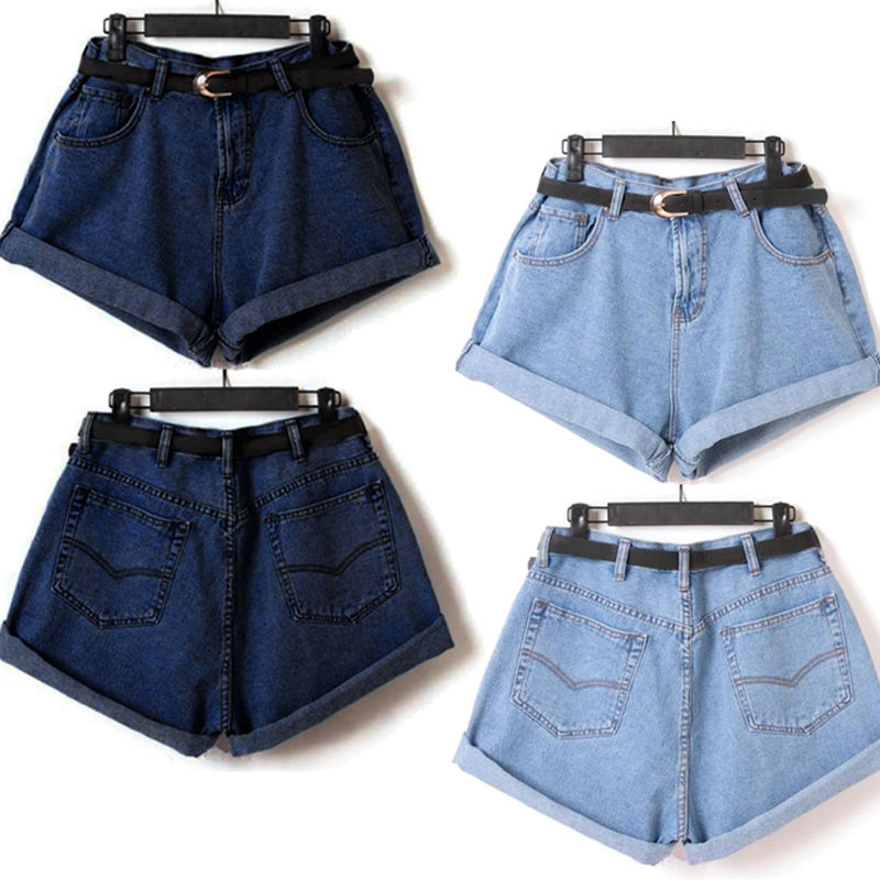 Chic Women Girls High Waisted Oversize Crimping Washed Denim Jeans Pants Shorts | eBay