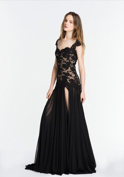 dress black beaded lace formal gown long maxi prom pageant cap sleeve chiffon evening outfits