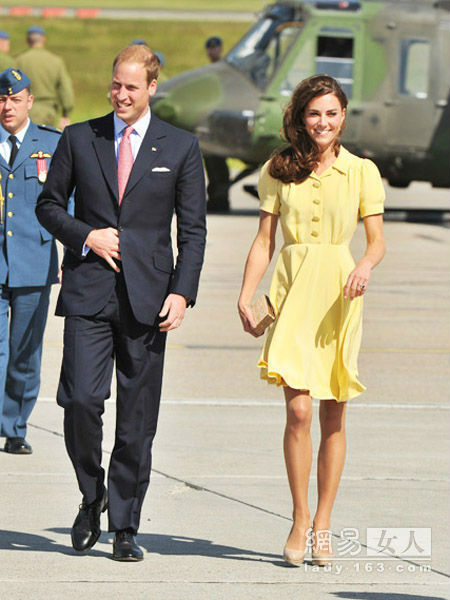 Free shipping royal inspired princess kate middleton graceful elegant dress light yellow quality dress