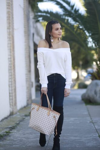 hashtagfablife blogger sweater jeans jewels shoes white sweater louis vuitton bag boots winter outfits