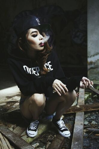 sweater black white urban street style cool hipster grunge smoke thug life gang gangsta black and white emo goth hoodie sweatshirt punk tumblr streetwear