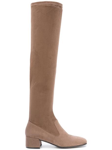 Steffen Schraut women spandex over the knee brown shoes