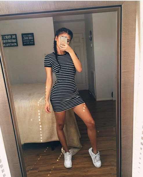 c8626247de7f dress short bodycon stripes stripes black white shift mini t-shirt t-shirt  dress