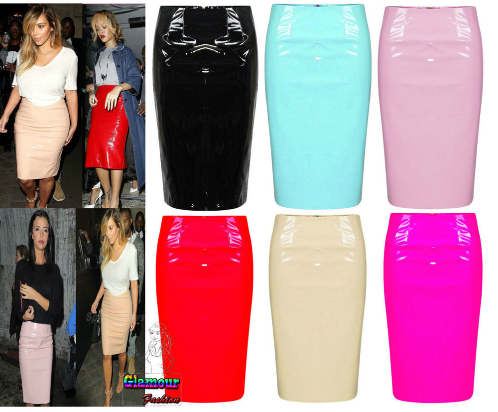 Celebrity Shiny PVC Wetlook Womens Bodycon Vinyl Pencil Midi Party ...