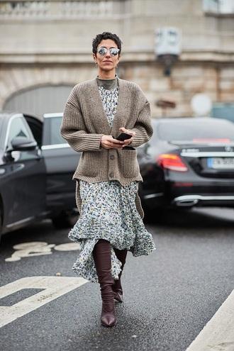 dress floral dress cardigan grey cardigan boots brown boots midi dress floral blue dress streetstyle