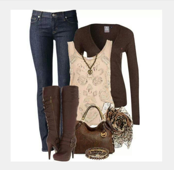 shoes boots jeans buckles pants high heels sweater top shirt scarf buckled boots purse bag clothes outfit high heel boots knee high boots blouse tank top lacy top ivory top embroidered
