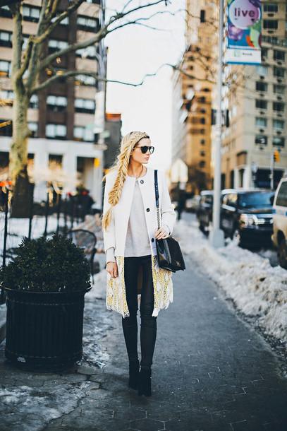 barefoot blonde blogger coat braid