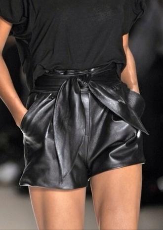 knot black shorts leather