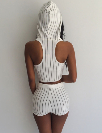 shorts hoodie cropped hoodie hood streetwear streetstyle street goth street stripes style striped top striped shirt striped skirt sequins and stripes striped pants set sexy