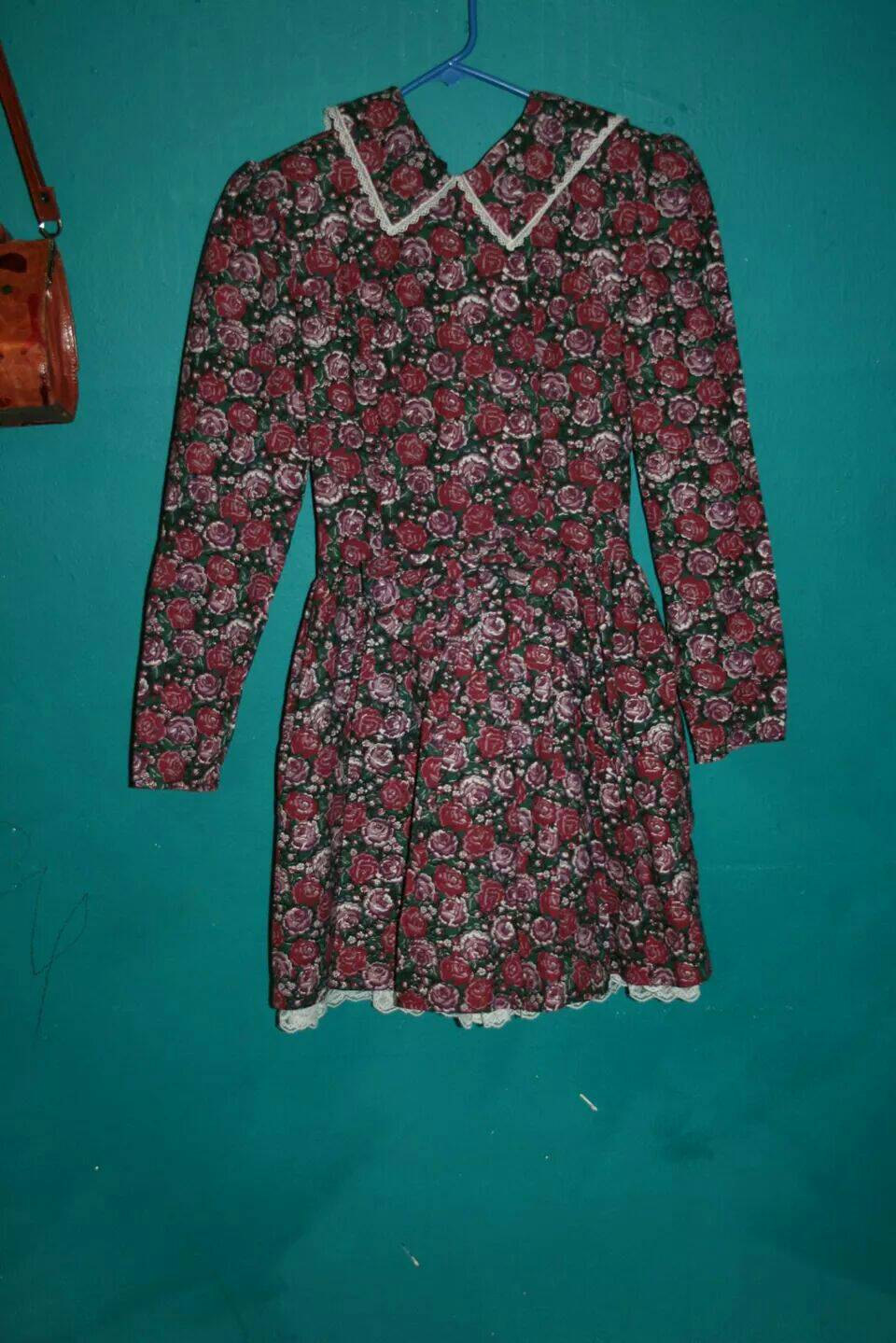 Gunne sax lolita rose print mini dress w peter pan collar / vintage mini dress / floral peterpan collar dress