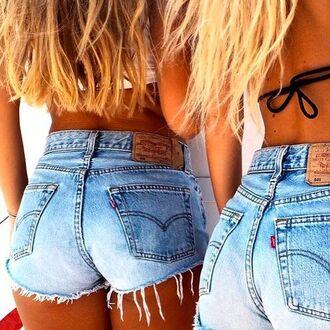 shorts high waisted vintage levis ripped denim shorts frayed shorts light blue blue jean shorts
