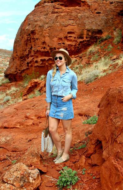 the fashion canvas – a fashion & lifestyle blog blogger shirt skirt hat shoes sunglasses bag louis vuitton bag denim shirt denim skirt spring outfits