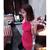 Women's Stylish Red O-Neck Solid Knee-Length Sleeveless Straight Dress - 301101S07
