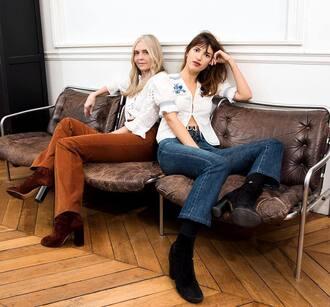jeans jeanne damas white shirt shirt denim blue jeans boots black boots