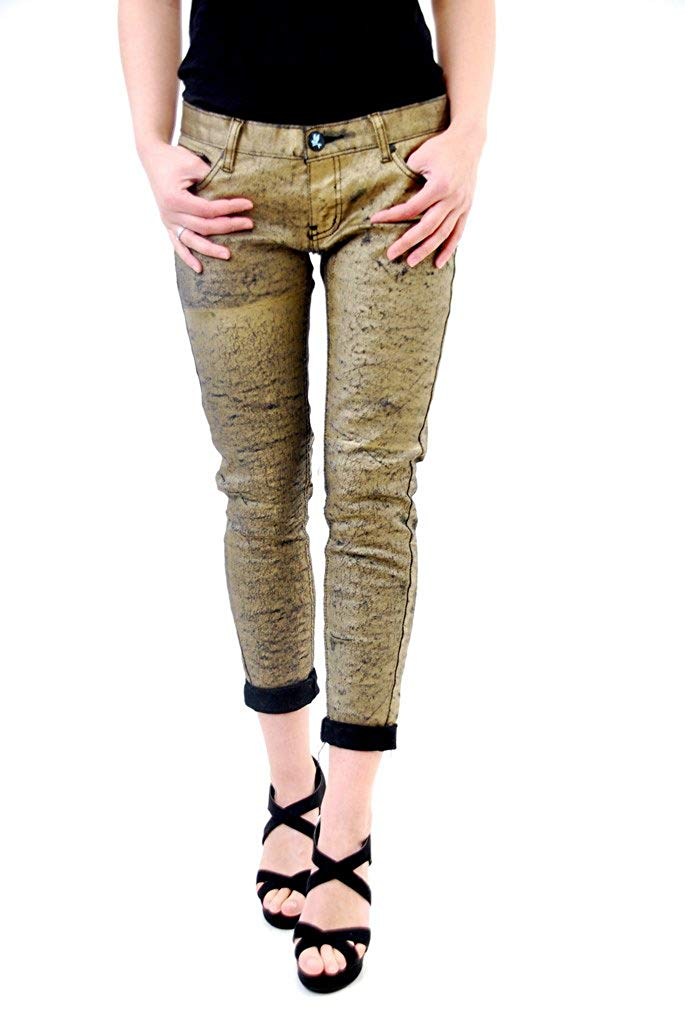 One Teaspoon Women's Matte Gold Golden Iggys Jeans Size H: Amazon.co.uk: Clothing