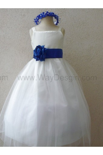 Flower Girl Dress - IVORY Tulle Dress (Double Straps) with Blue ROYAL Sash - Easter, Junior Bridesmaid, Wedding - From Baby to Teen