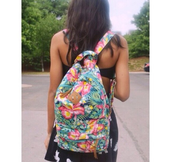 bag print backpack hawaiian