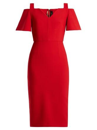 dress midi dress open midi red