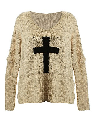 ASOS Fashion Finder | LOVE Stone Popcorn Crucifix Oversized Jumper