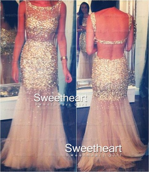 Line sequined long tulle prom dresses, evening dresses