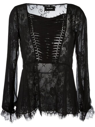 blouse women lace black top