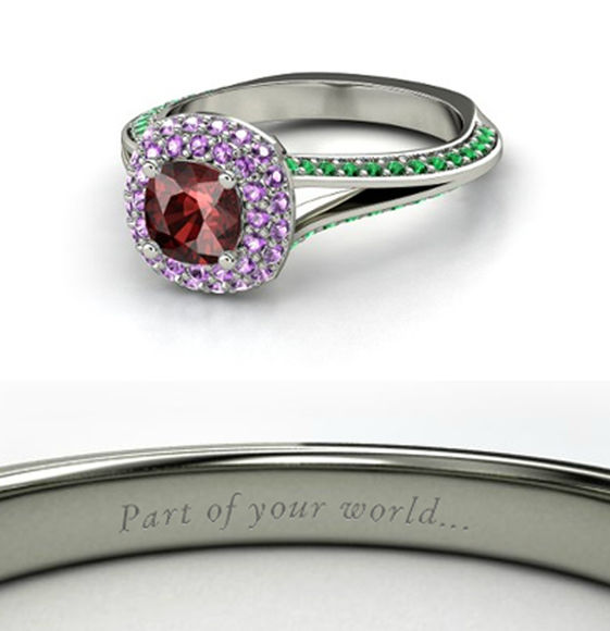 the little mermaid disney jewels disney princess red ring beautiful purple green