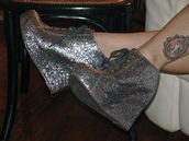 silver,glitter,lace up,high heels,shoes
