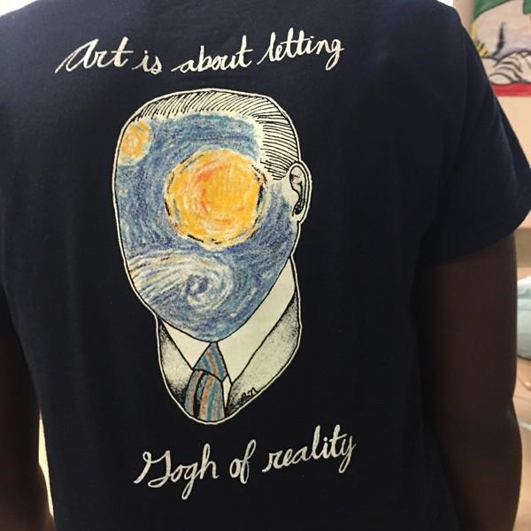 shirt van gogh gogh art tumblr aesthetic painting reality t-shirt blue top