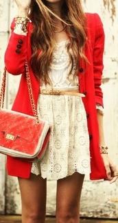 dress,white,cute,belt,shorts,cream dress,lace,lace dress,short dress,jacket,red,fall jacket,fall outfits,outfit dress,coat,blouse,bag,jewels