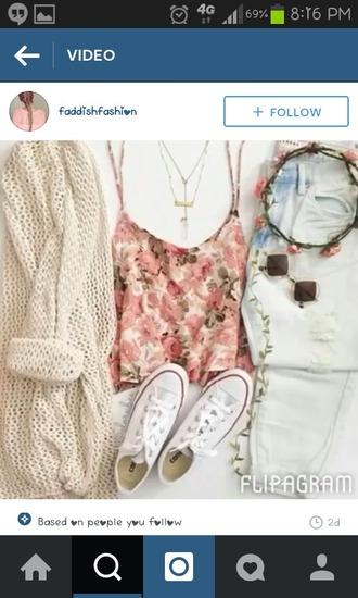 cardigan lace floral shirt floral shirt flower headband edc cute girls girly boho jewels tank top