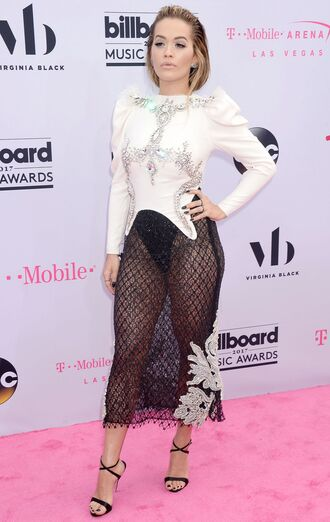 skirt top see through sandals rita ora billboard music awards mesh black and white shoes