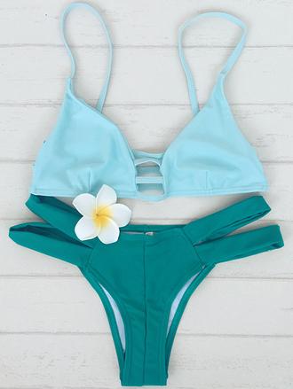 swimwear bikini fashion mint beach girly summer green turquoise zaful