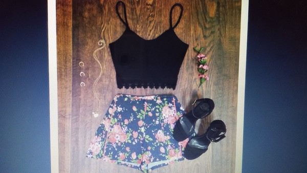 shorts floral High waisted shorts blouse