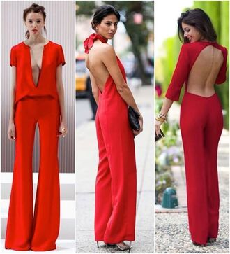 jumpsuit red palazzo long sleevs backless v neck sexy wide leg