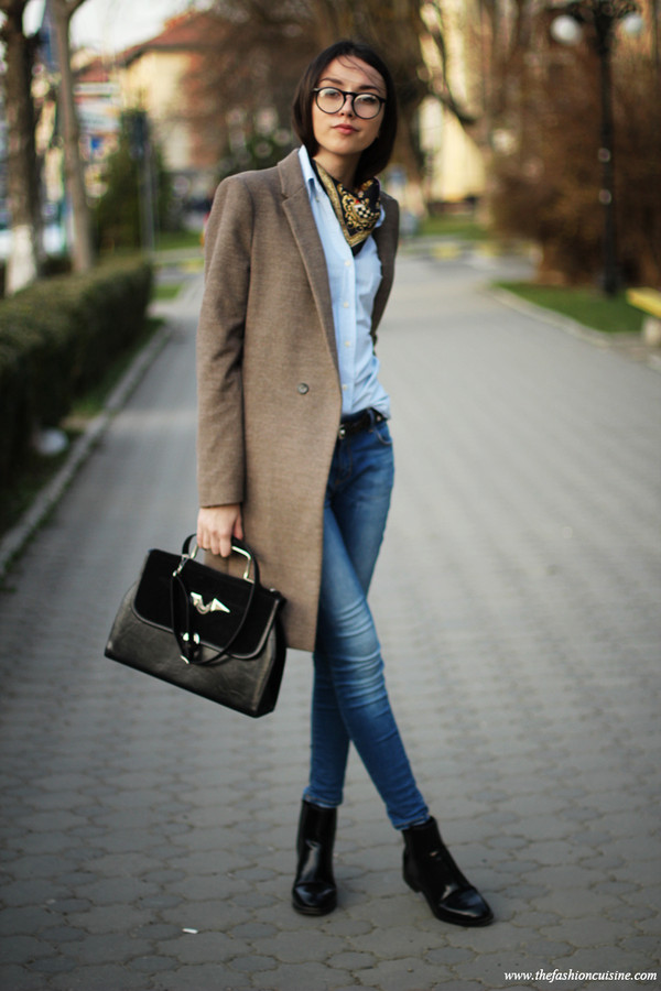 the fashion cuisine coat shirt jeans shoes bag scarf jewels