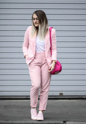 paris grenoble,blogger,jacket,t-shirt,suit,pink jacket,pink pants,shoulder bag,sneakers,french,paris,asos,adidas shoes,alexander wang